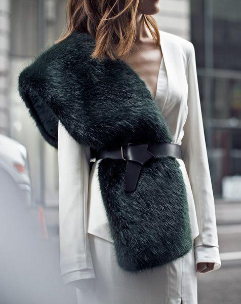 faux fur scarf minimal