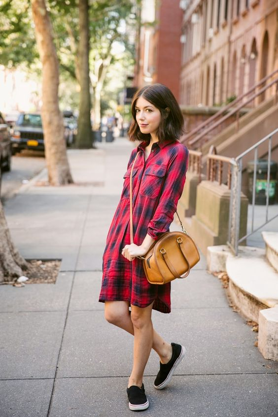 flannel dress red for everyday