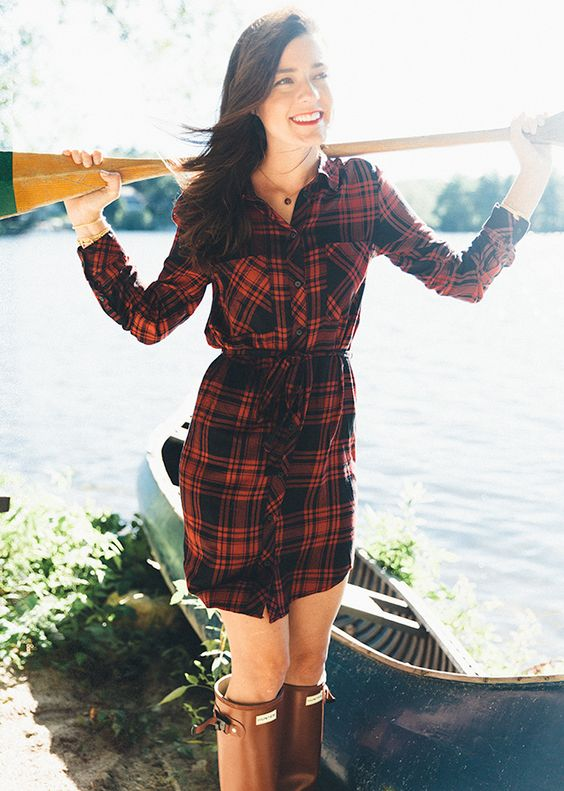 flannel dress red sporty