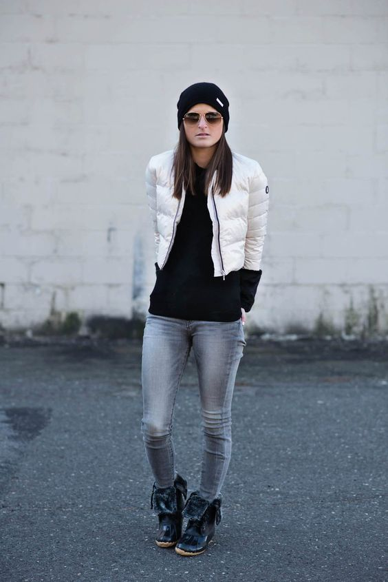 fur lined boots cropped jeans