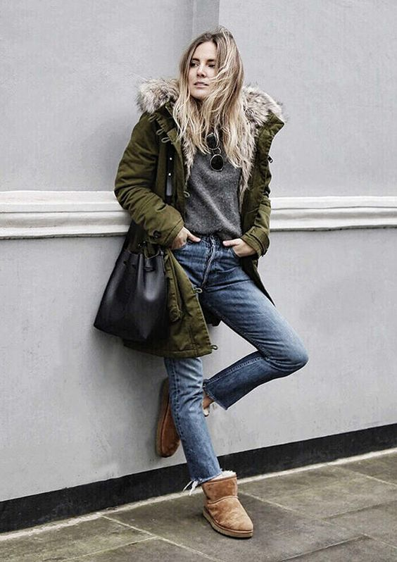 fur lined boots green parka