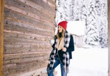 fur lined boots red beanie