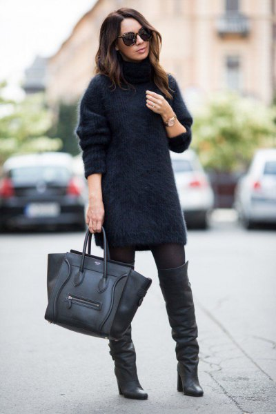 fuzzy turtleneck sweater dress leather boots