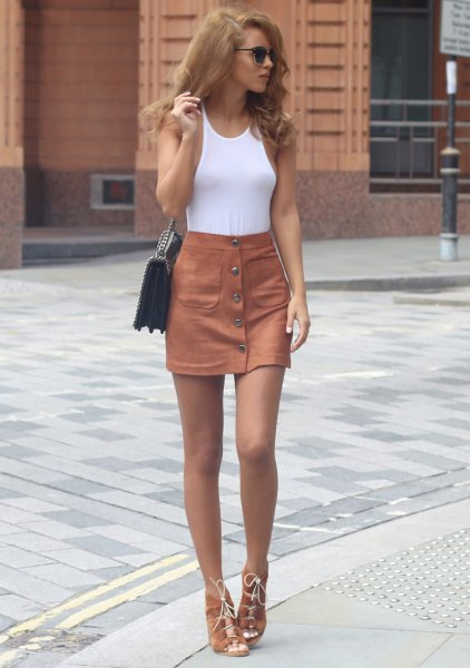 green button up skirt white vest top