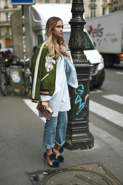 green jacket white long shirt