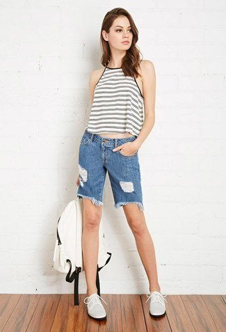 grey and white cropped halter top denim shorts