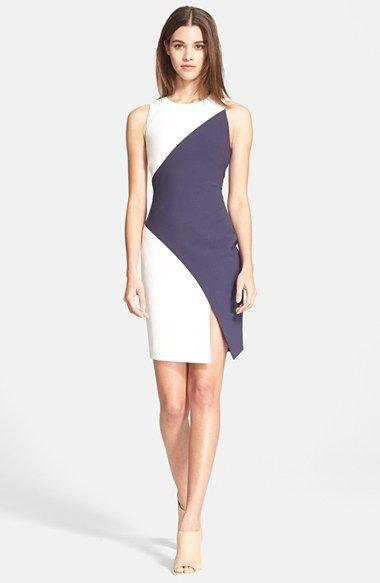 grey and white diagonal color block mini dress