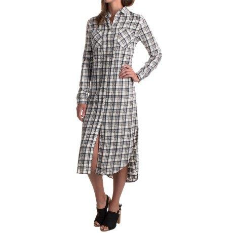 grey and white rayon plaid midi shirt dress