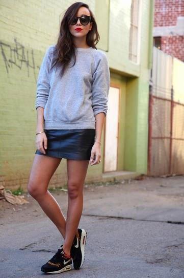 grey crew neck sweatshirt leather mini skirt