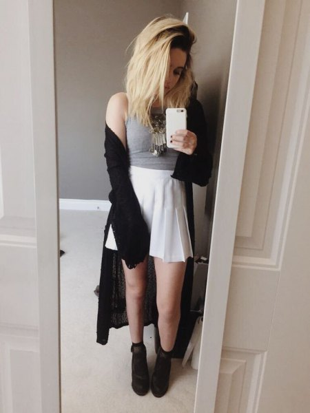grey crop top black maxi cardigan