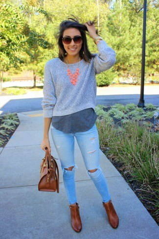 grey cropped crew neck sweater over long t shirt