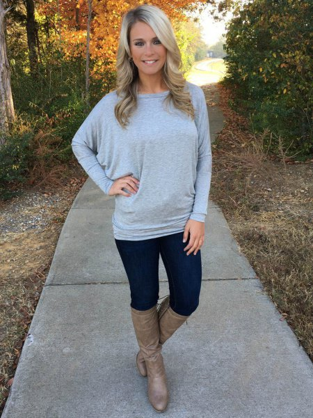 grey dolman sleeve boat neck sweater boots