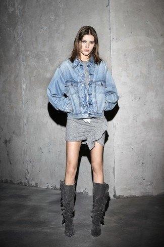 grey knee high boots grey t shirt dress denim jacket