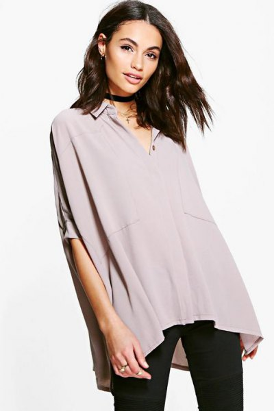grey oversized batwing chiffon shirt