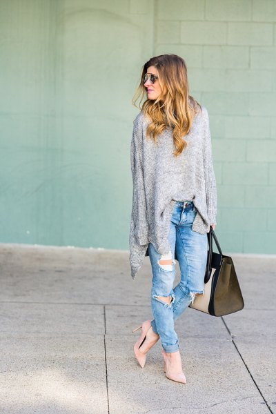 grey oversized knit sweater ripped boyfriend jeans