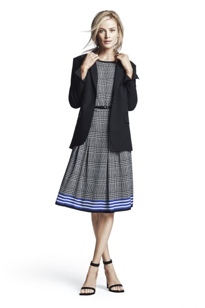 grey plaid belted flare midi dress black blazer