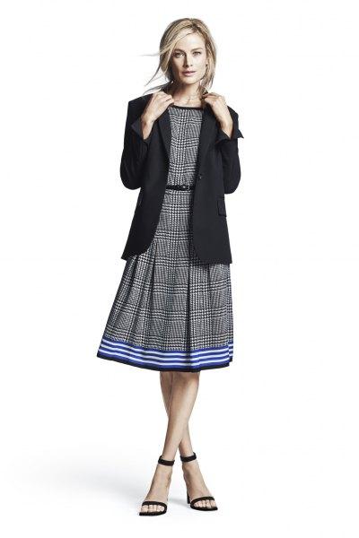 grey plaid belted flare midi dress black blazer
