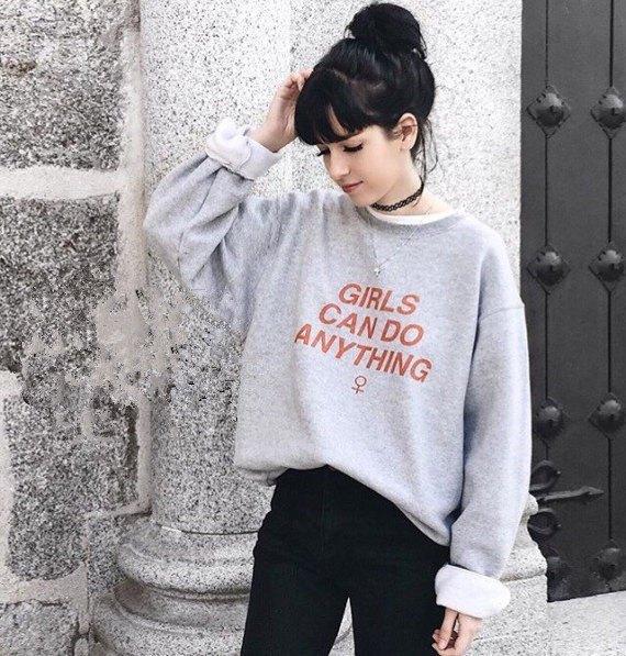 grey printed crew neck sweatshirt black jeans