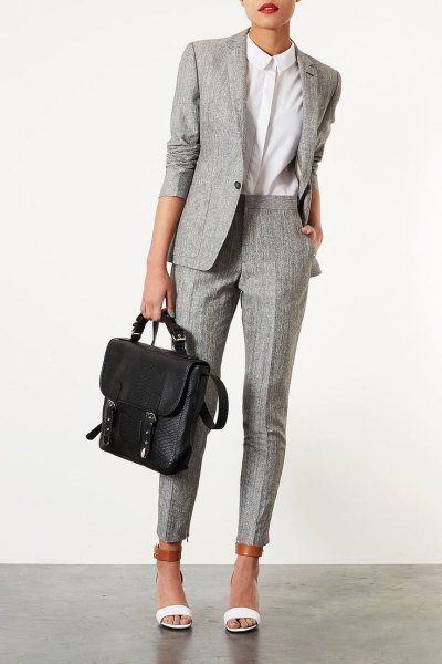 grey tweed suit white button up shirt