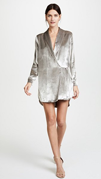 grey velvet loose fit wrap jacket dress