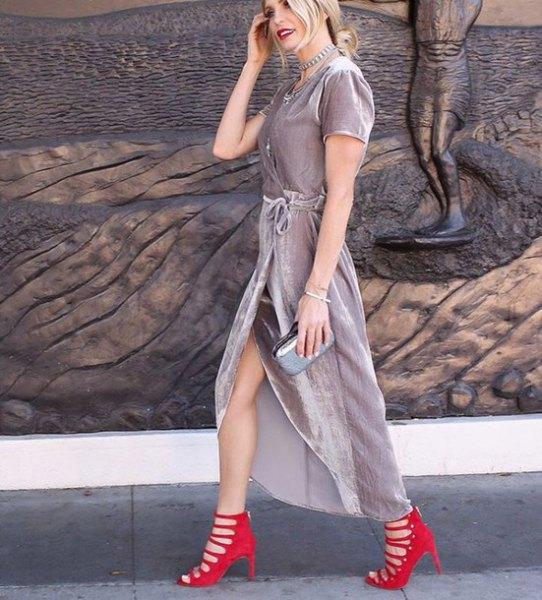 grey velvet wrap maxi dress red strappy heels