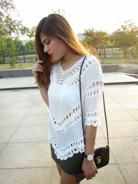 half sleeve crochet top black mini skirt