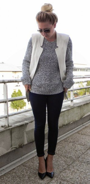 heather grey crew neck knit sweater white vest