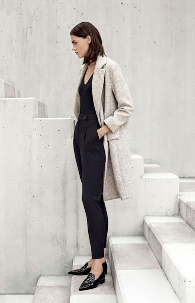 heather grey wool coat all black outfit