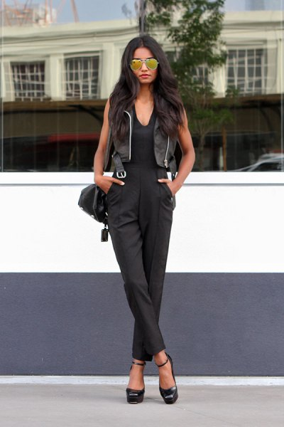 leather vest black v neck jumpsuit