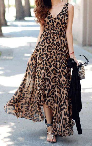 leopard print deep v neck maxi flared dress