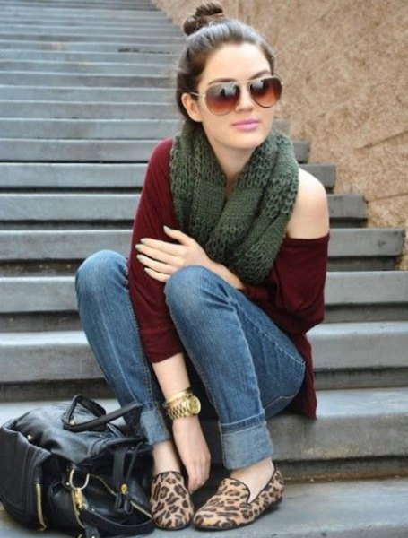 leopard print loafers dark green one shoulder sweater
