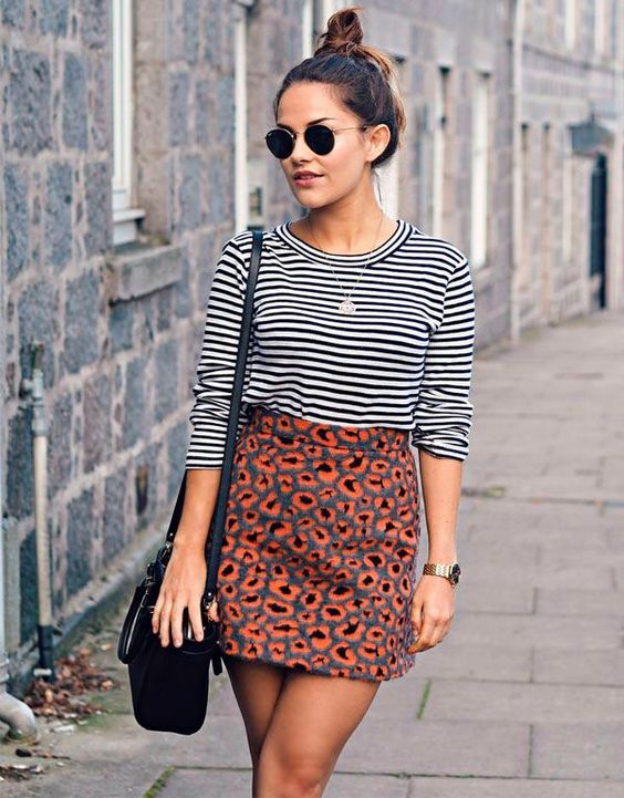 leopard print skirt mixing patterns