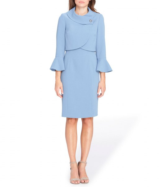 light blue bell sleeve jacket dress