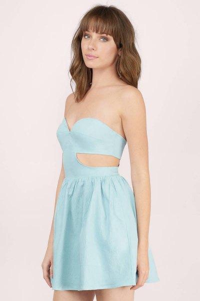 light blue cutout sweetheart neckline satin cocktail dress