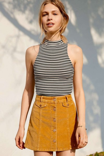 light brown corduroy skirt striped halter top