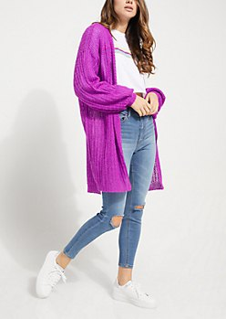 long chunky purple knit cardigan ripped skinny jeans