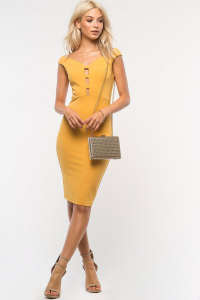 mustard yellow cap sleeve off shoulder bodycon dress