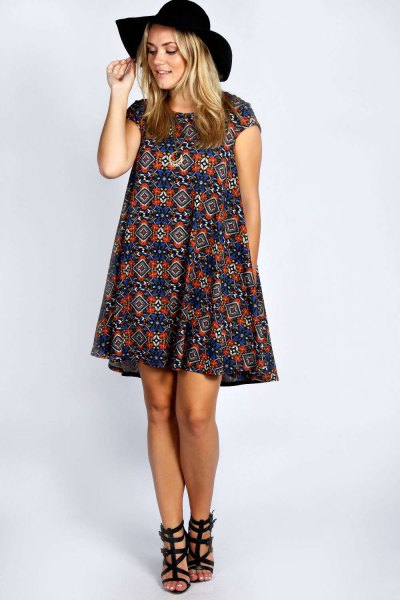 navy and red tribal printed cap sleeve breezy dress