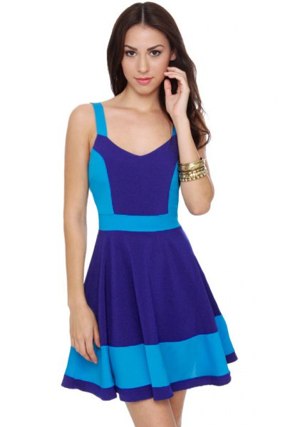 navy and sky blue color block mini skater dress