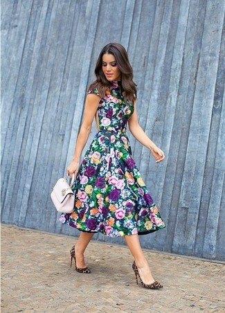 navy cap sleeve midi floral dress
