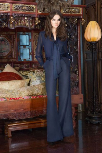 navy chiffon shirt matching wide leg pants