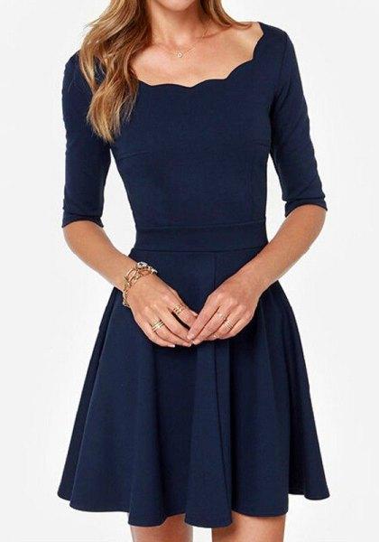 navy half sleeve wavy neckline skater dress