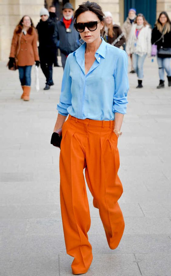orange pants blue