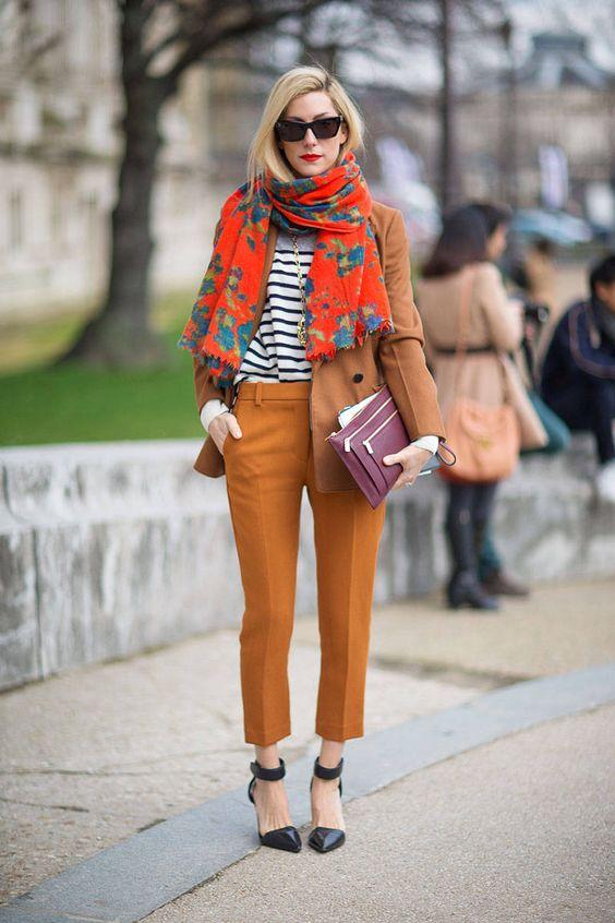 orange pants floral print