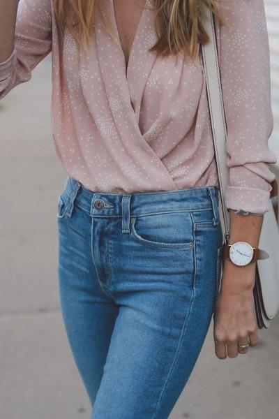 pale pink polka dot top mom jeans