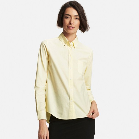 pale yellow oxford shirt black skinny jeans