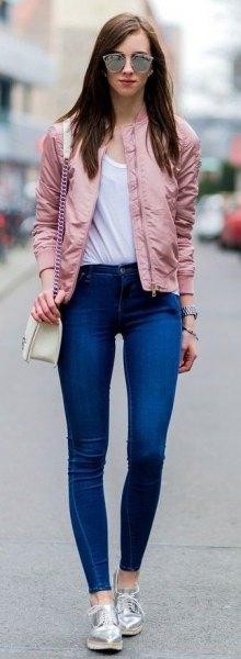 pink bomber jacket royal blue skinny jeans