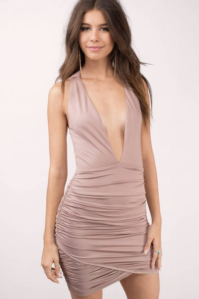 pink deep v neck ruched bodycon dress