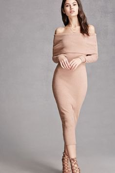 pink folded shoulder midi bodycon dress nude heels