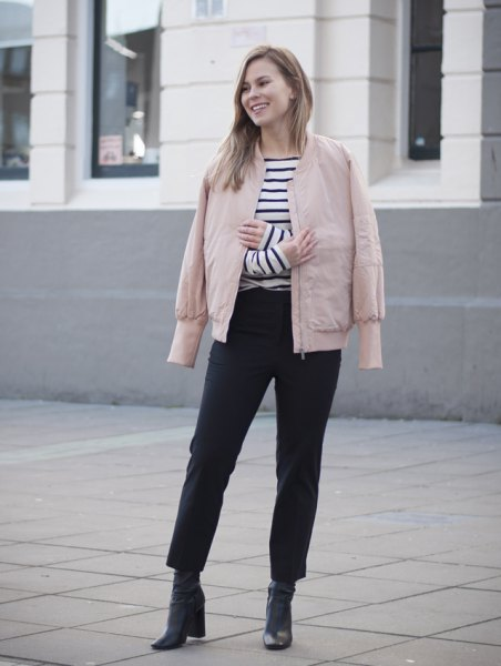 pink jacket black and white striped tee